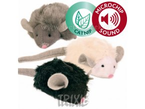 Myš se zvukem mikročip 6,5 cm - hračka pro kočky
