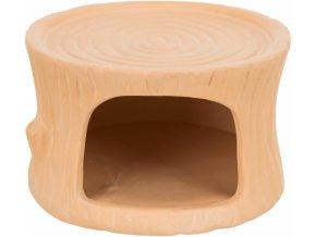 Keramický domeček pro křečky tvar pařez