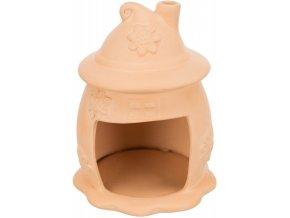 Keramický domeček se stříškou a komínkem pro křečky a myši