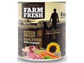 Farm Fresh ovce a kachna s mrkví - konzerva pro psy 800 g NARAŽENÁ