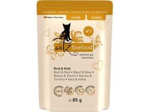 Catz Finefood Kitten 7 hovězí a telecí - kapsička 85 g
