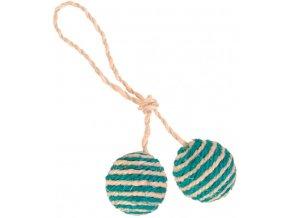 Sisalové míčky s rolničkou - 2 kuličky na provázku