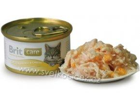 Brit Care Cat kuře a sýr - konzerva pro kočky 80 g