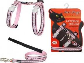 Postroj s vodítkem pro kočky reflexní růžový