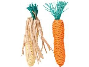 Sisalová mrkvička a kukuřice - hračka pro králíky a hlodavce