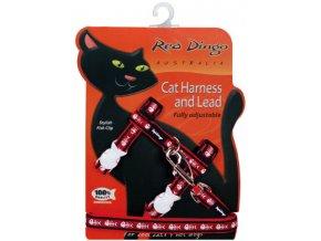 Postroj s vodítkem pro kočky červený