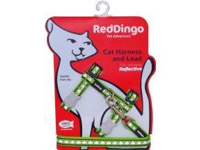 Postroj s vodítkem pro kočky reflexní limetkový