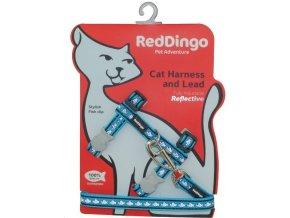 Postroj s vodítkem pro kočky reflexní tyrkysový