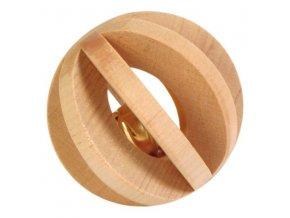 Lamelový dřevěný míček s rolničkou