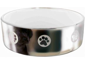 Keramická miska motiv packy 19 cm, 1,5 l stříbrno-bílá