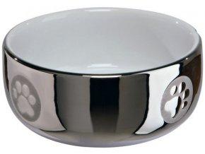 Keramická miska motiv packy 11 cm, 0,3 l stříbrno-bílá zaoblená