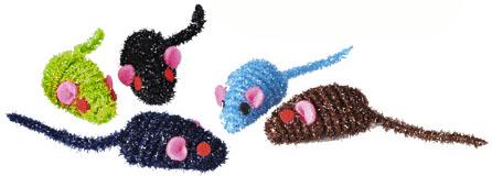 Myš střapatá třpytivá 4,5 cm - hračka pro kočky
