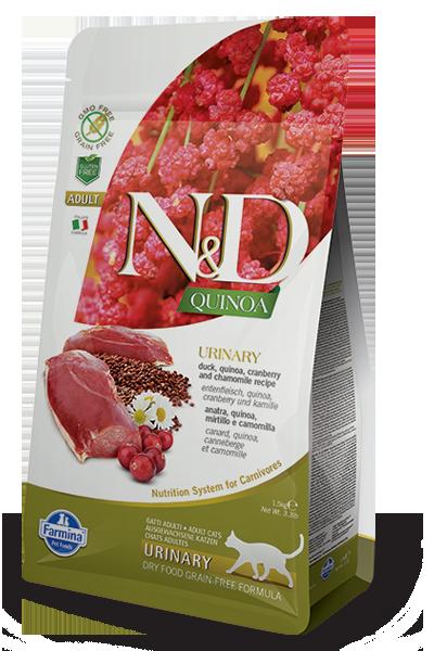 N&D Grain Free Cat QUINOA Urinary Duck 1,5 kg + nákupní taška zdarma