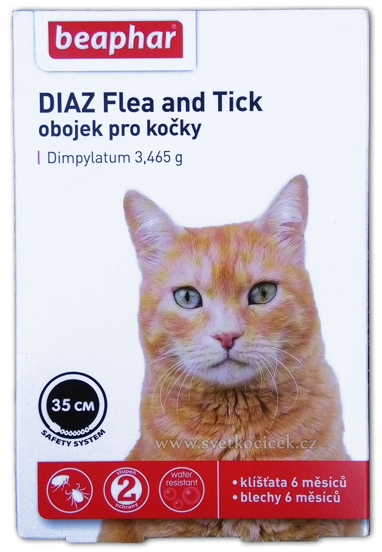 Obojek antiparazitní kočka DIAZ Flea Tick - 35 cm