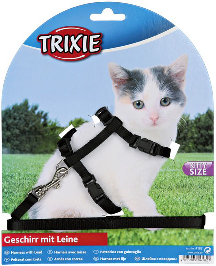 Trixie Nylonový postroj pro koťata 19-31cm/8mm Barva: černá