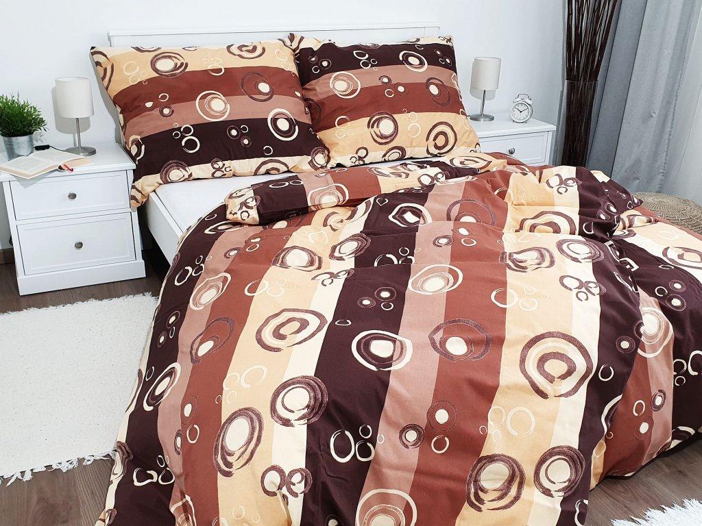 Bavlnené obliečky 140x260 - Bublina hnedá