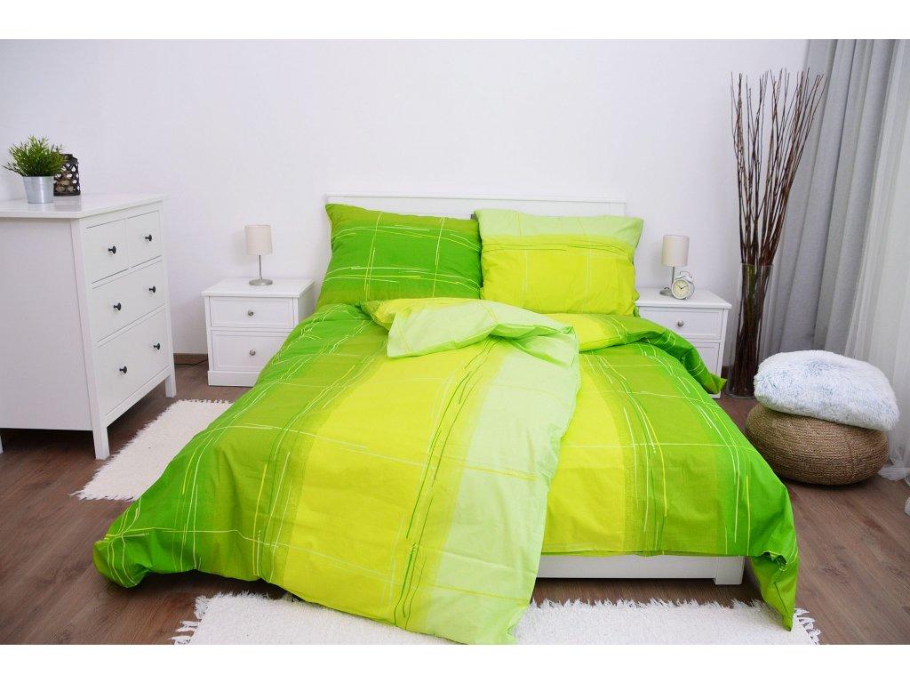 Bavlnené obliečky Cákance zelené 200x200 + 2x 70x90