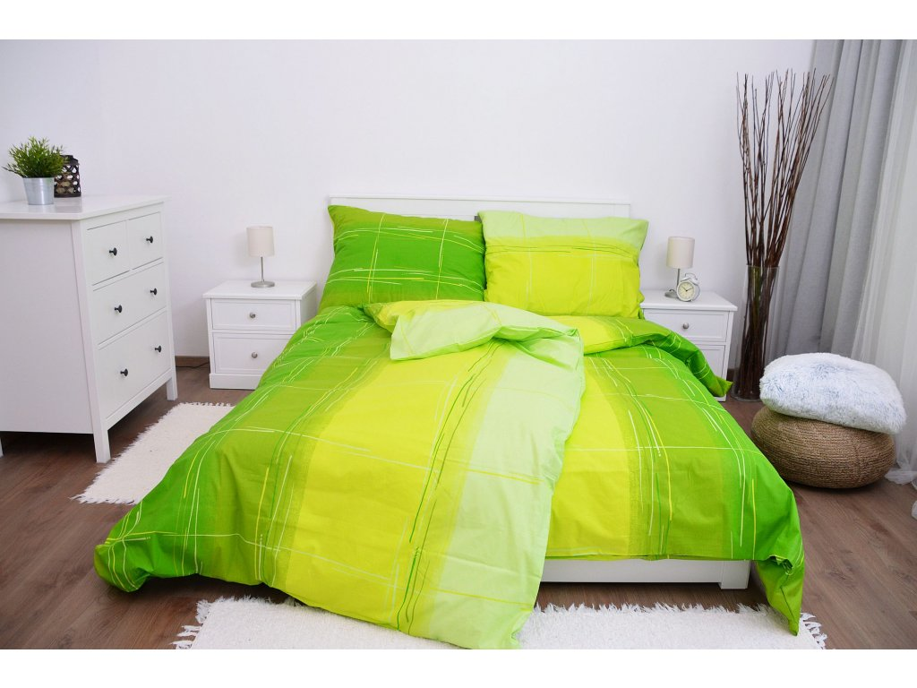 Bavlnené obliečky Cákance zelené 200x220 + 2x 70x90