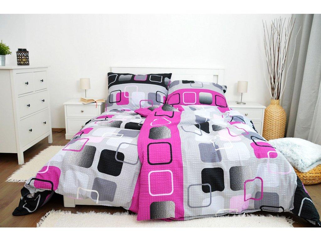 Krepové obliečky Obrazovky ružové 140x200 + 70x90