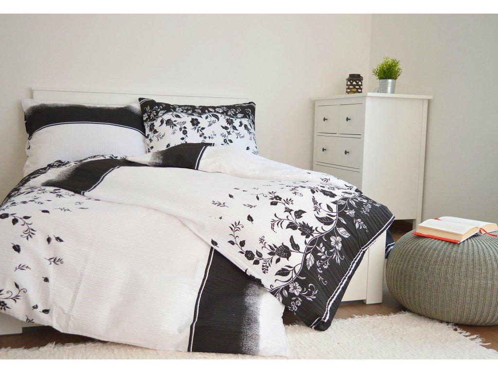 Krepové obliečky Kvietok čierny 140x260 + 70x90
