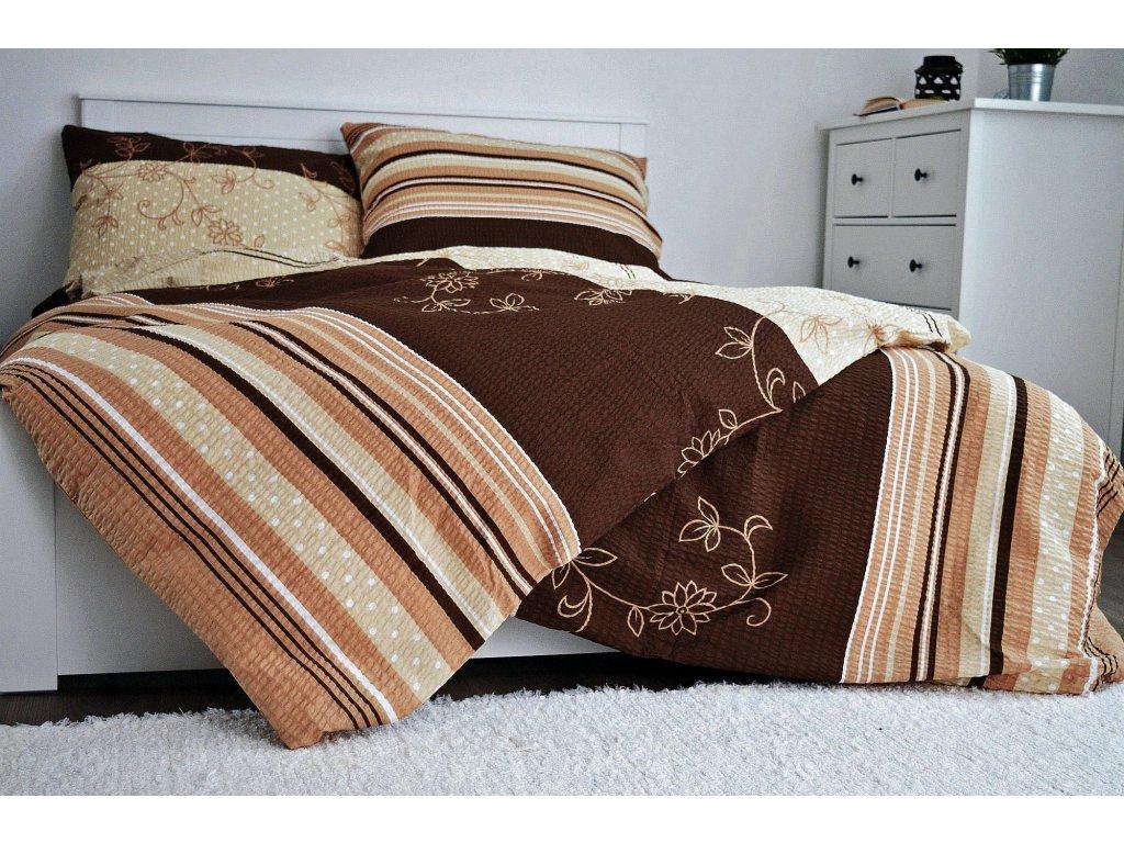 Krepové obliečky Bezkvet hnedý 200x220 + 2x 70x90