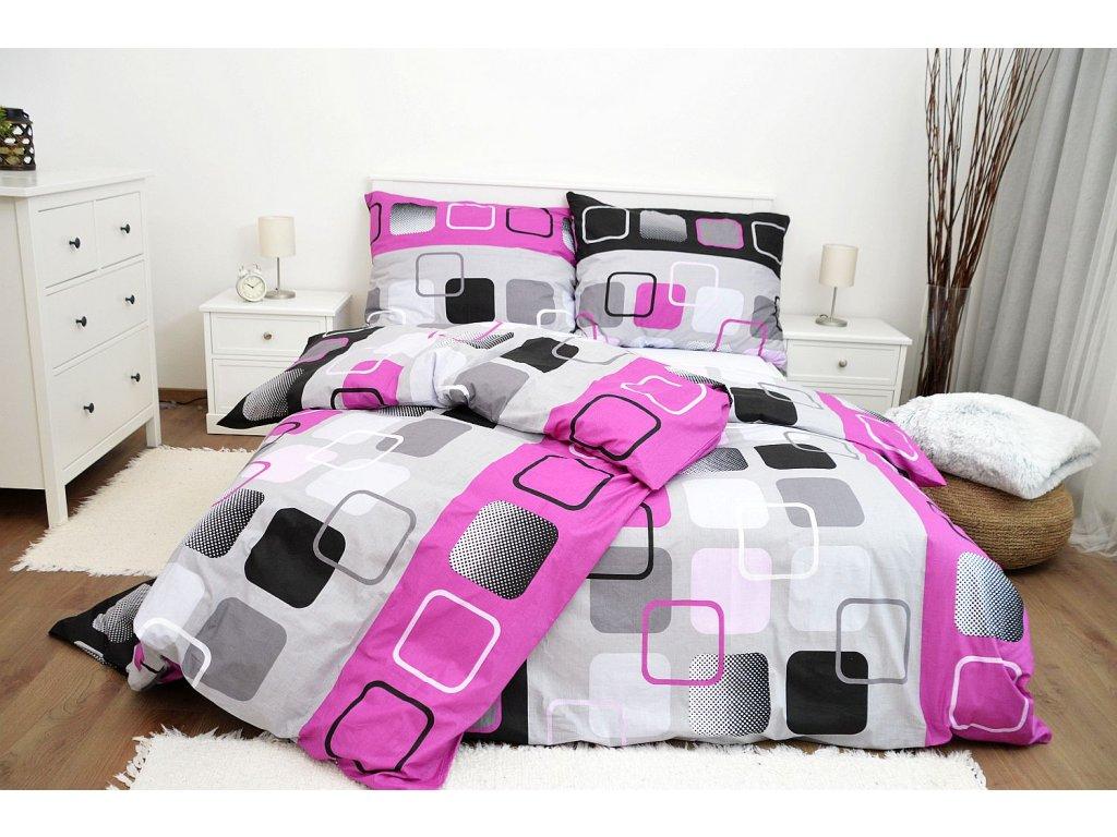 Bavlnené obliečky Obrazovky ružové 200x220 + 2x 70x90