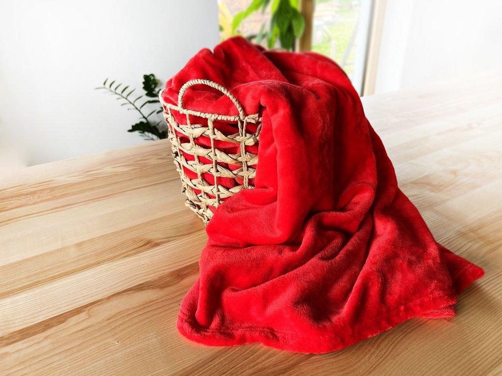 Mikroplyšová deka - Červená