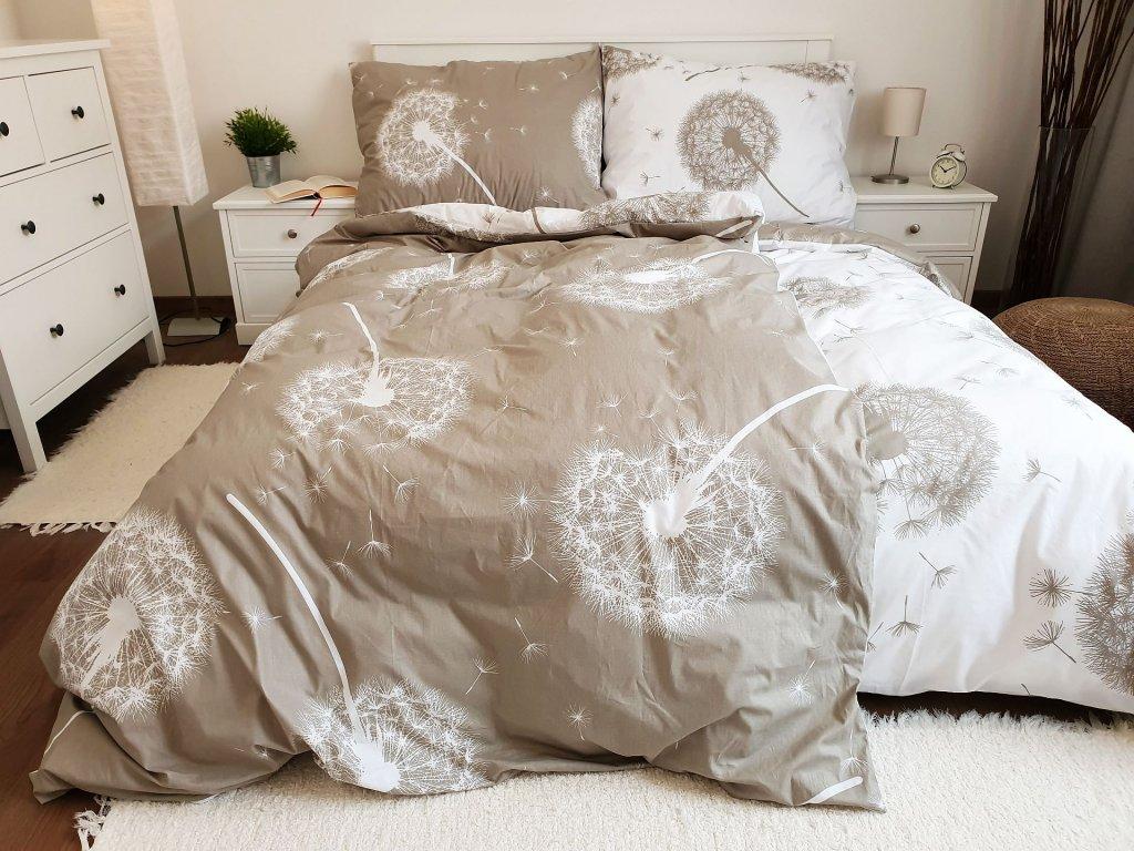 Bavlnené obliečky 140x200 + 70x90 - Púpavy obojstranné béžové