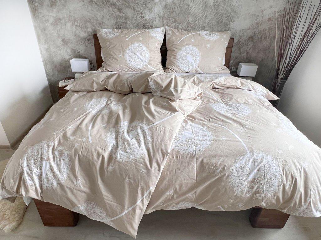 Bavlnené obliečky Púpavy béžové 140x260 + 70x90