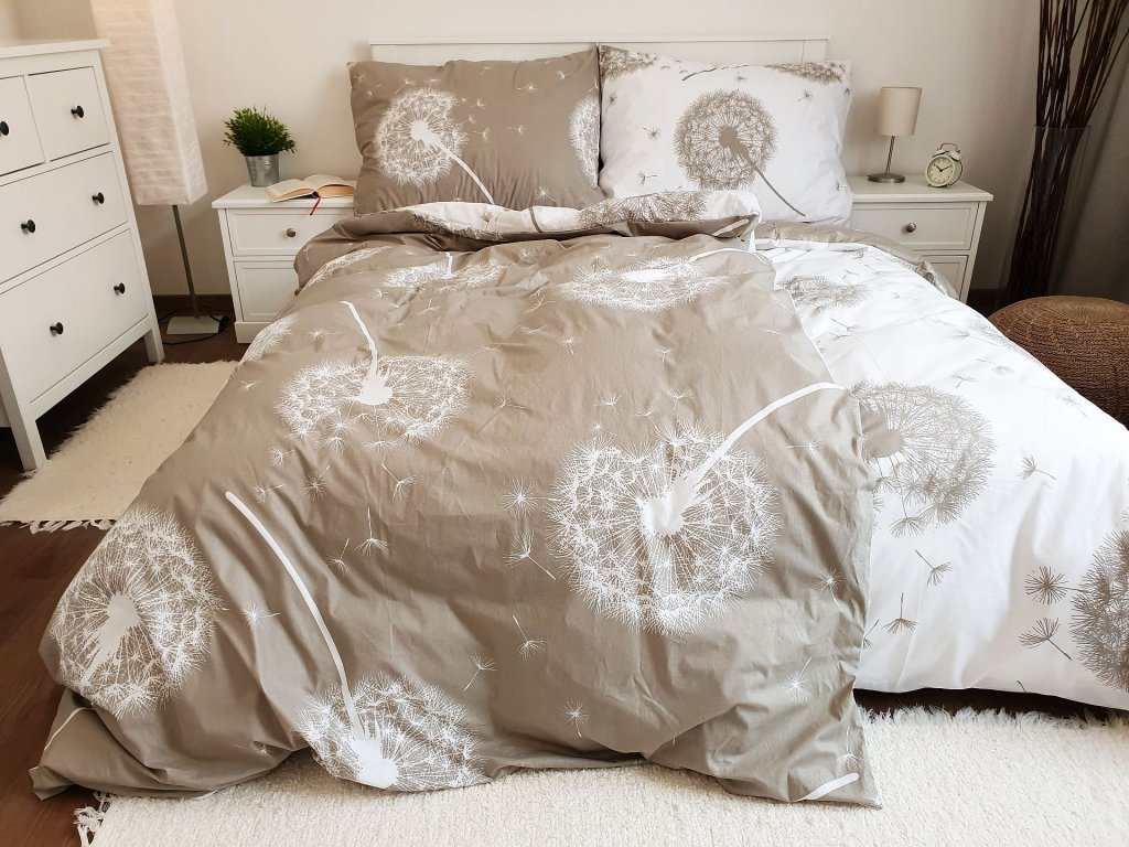 Bavlnené obliečky Púpavy obojstranné béžové 140x260 + 70x90