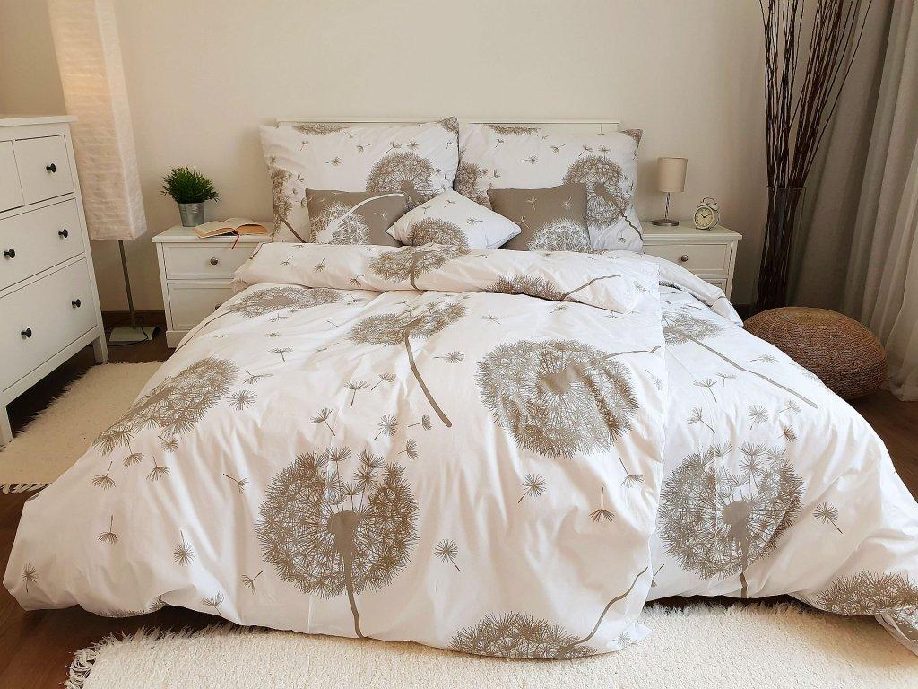 Bavlnené obliečky Púpavy bielo-béžové 200x200 + 2x 70x90