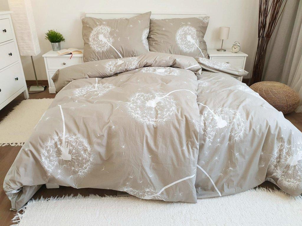 Bavlnené obliečky Púpavy béžové 200x200 + 2x 70x90