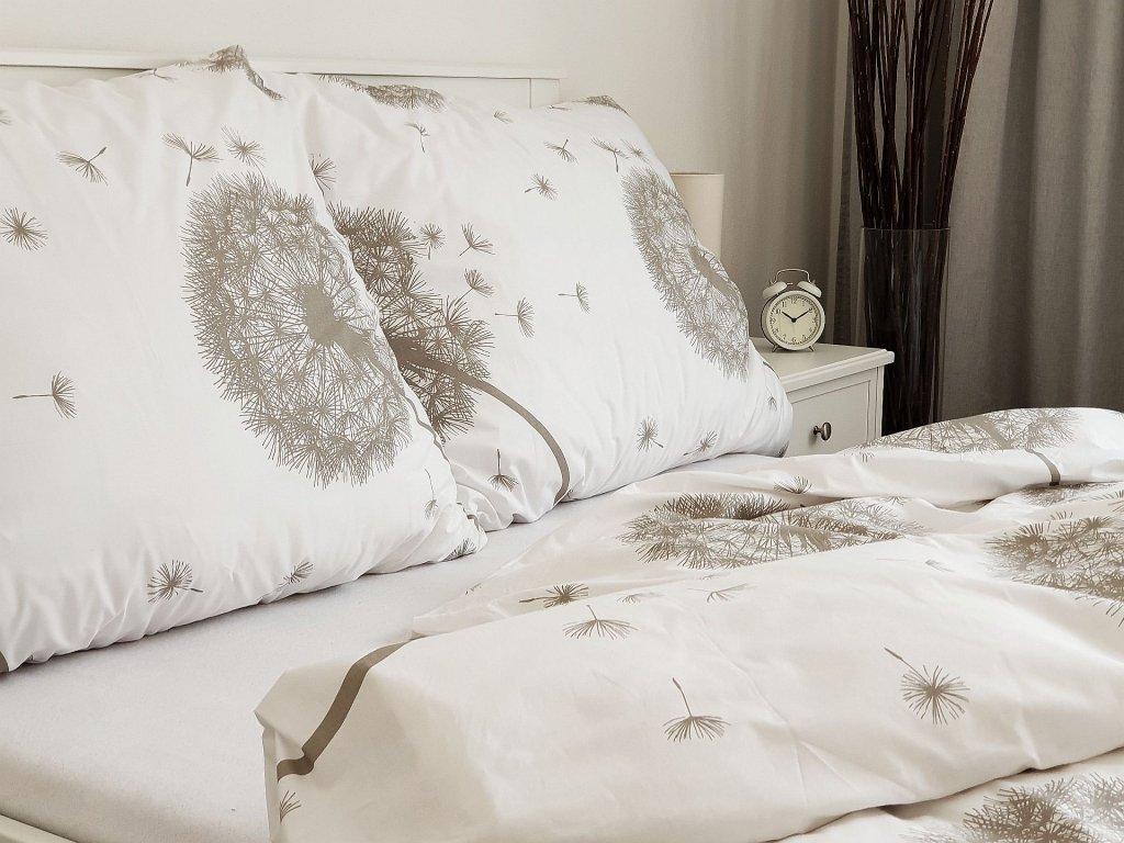 Bavlnený poťah na vankúš 45x65 - Púpavy bielo-béžové