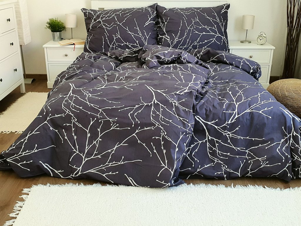 Bavlnené obliečky Vetvičky sivé 200x200 + 2x 70x90