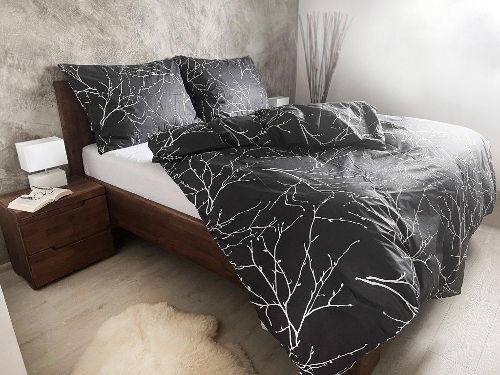 Bavlnené obliečky Vetvičky sivé 200x220 + 2x 70x90