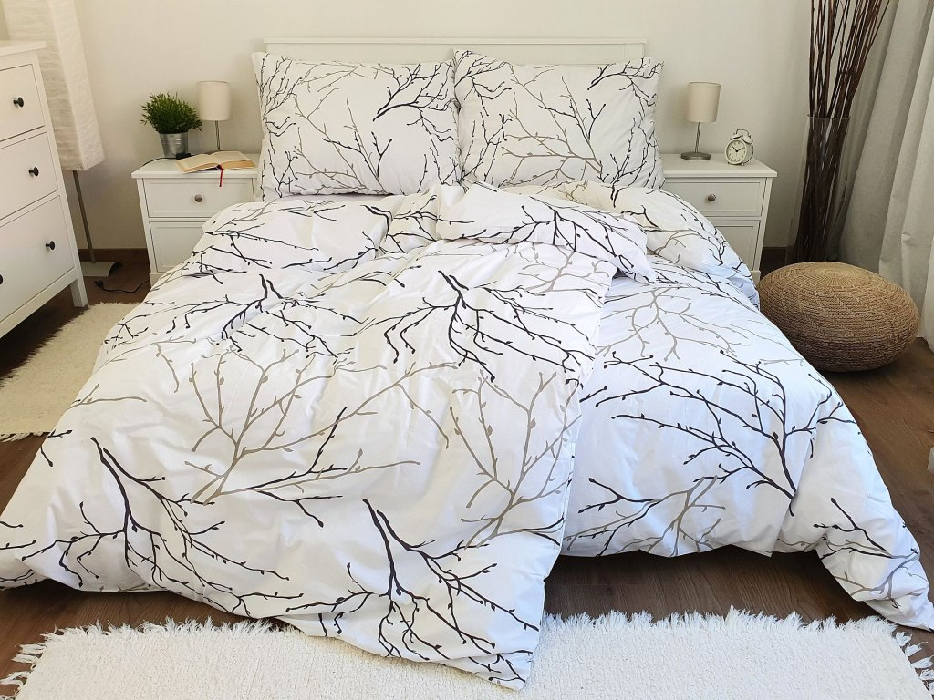 Bavlnené obliečky Vetvičky biele 200x200 + 2x 70x90