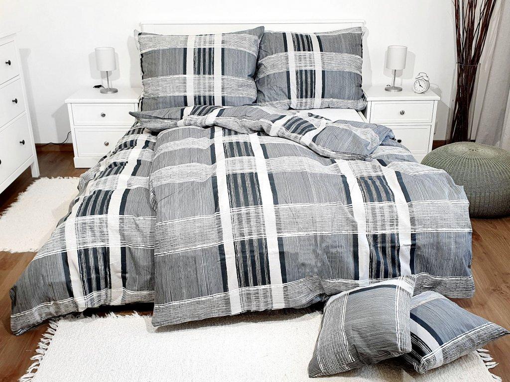 3-dielne bavlnené obliečky - Káro sivé