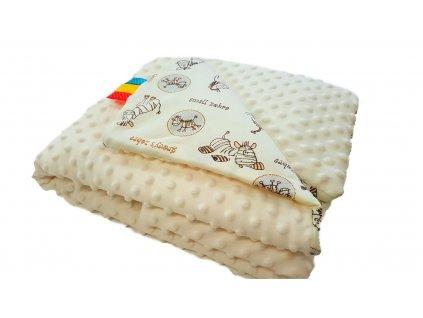 Detská deka MINKY - krémová