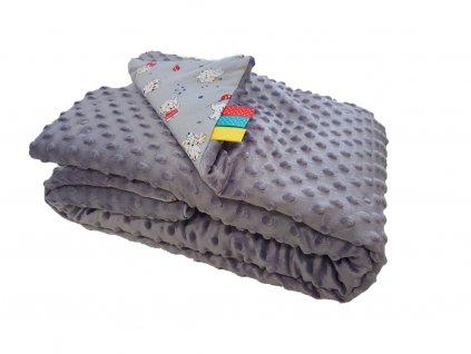 Detská deka MINKY - sivá