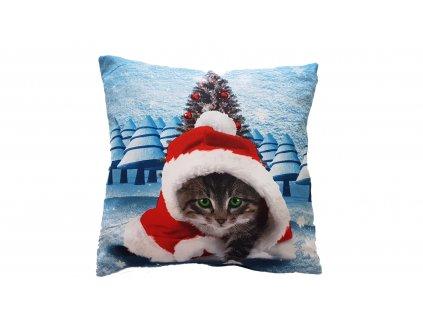 3D poťah na vankúš - Vianočná mačka 45x45