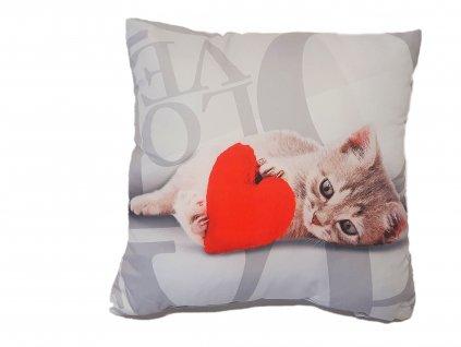 Plnený vankúšik - Mačiatko so srdcom - 40x40