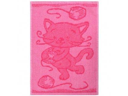 Detsky rucnik Cat pink 30 x 50 cm