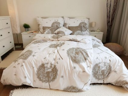 Krepové obliečky Púpavy bielo-béžové 140x220 + 70x90