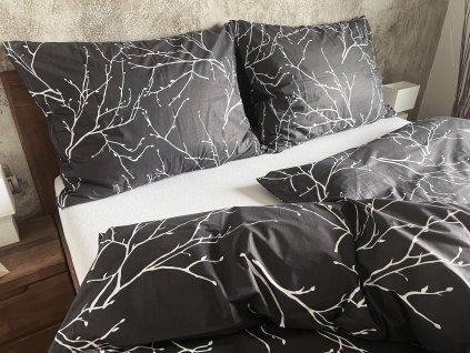 Bavlnený poťah na vankúš 45x65 - Vetvičky sivé