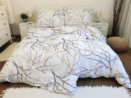 Bavlnené obliečky 140x200 + 70x90 - Vetvičky biele