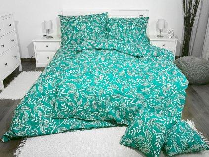 3-dielne bavlnené obliečky - Lístky zelené
