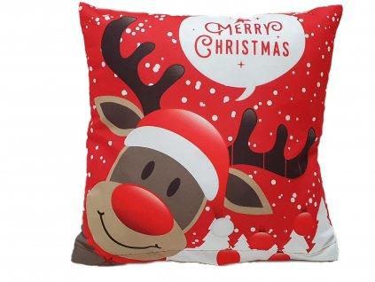Poťah na vankúš - Vianočný Sob Rudolf - 40x40