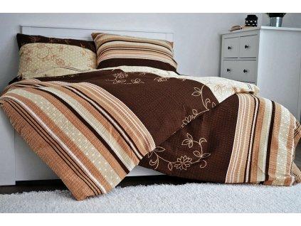 Krepové obliečky Bezkvet hnedý 200x220 + 2x 50x70