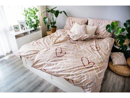 3-dielne bavlnené obliečky - Srdca béžové