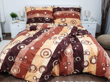 Bavlnené obliečky 140x200 + 70x90 - Bublina hnedá